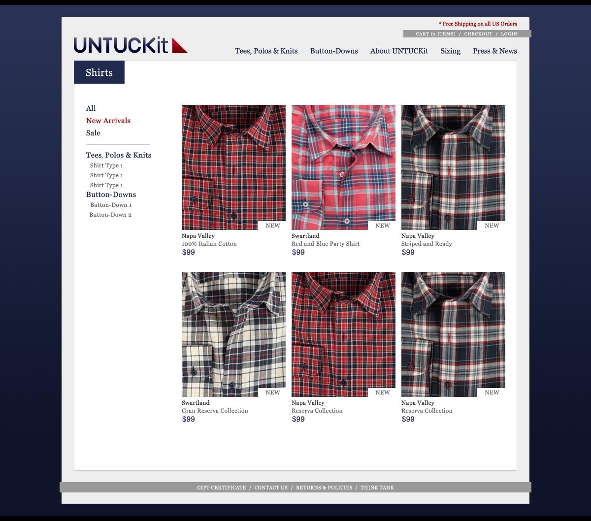 Untuckit Website Image 1