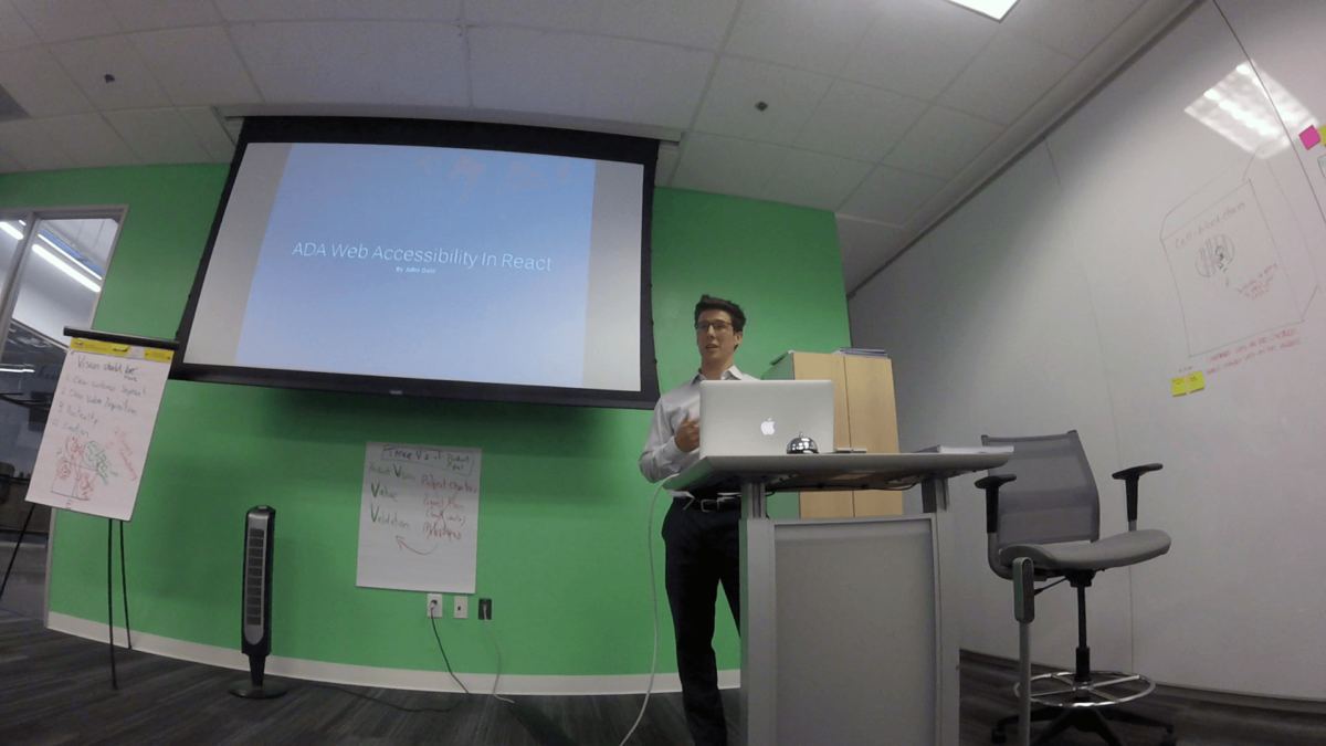 John Dahl speaking at ReactJS Dallas Meetup on ADA Web Accessibility in React